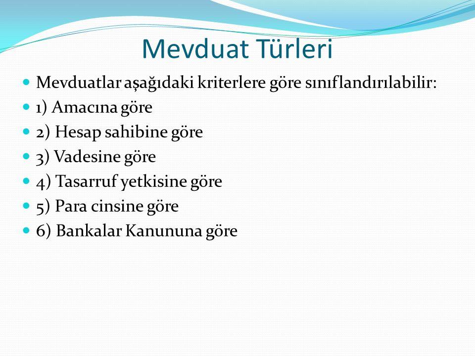 Mevduat Türleri Mevduatlar aşağıdaki kriterlere göre sınıflandırılabilir: 1) Amacına göre 2) Hesap sahibine göre 3) Vadesine göre 4) Tasarruf yetkisin