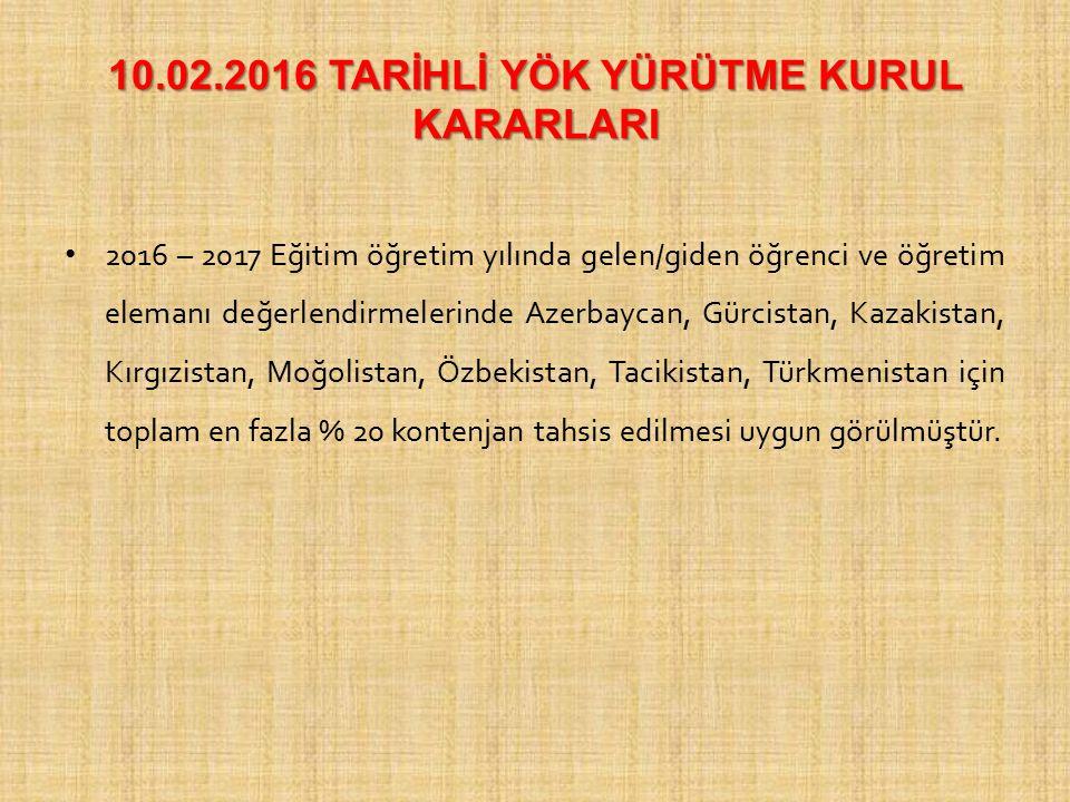 10.02.2016 TARİHLİ YÖK YÜRÜTME KURUL KARARLARI 2016 – 2017 Eğitim öğretim yılında gelen/giden öğrenci ve öğretim elemanı değerlendirmelerinde Azerbayc