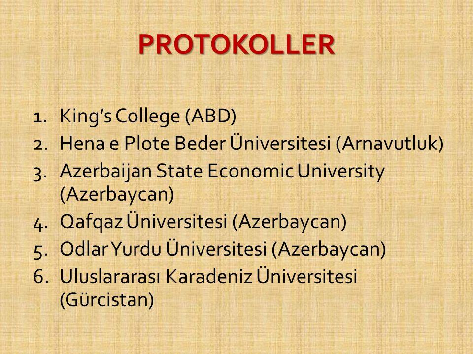 PROTOKOLLER 1.King's College (ABD) 2.Hena e Plote Beder Üniversitesi (Arnavutluk) 3.Azerbaijan State Economic University (Azerbaycan) 4.Qafqaz Üniversitesi (Azerbaycan) 5.Odlar Yurdu Üniversitesi (Azerbaycan) 6.Uluslararası Karadeniz Üniversitesi (Gürcistan)