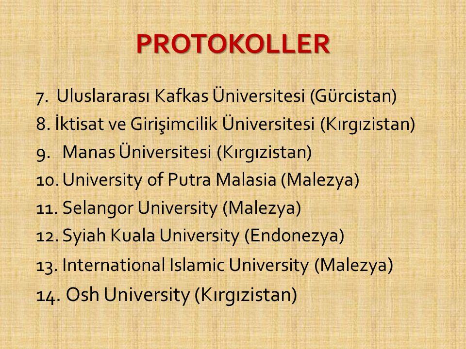 PROTOKOLLER 7. Uluslararası Kafkas Üniversitesi (Gürcistan) 8. İktisat ve Girişimcilik Üniversitesi (Kırgızistan) 9.Manas Üniversitesi (Kırgızistan) 1