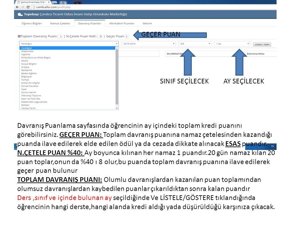 Davranış Puanlama sayfasında öğrencinin ay içindeki toplam kredi puanını görebilirsiniz.