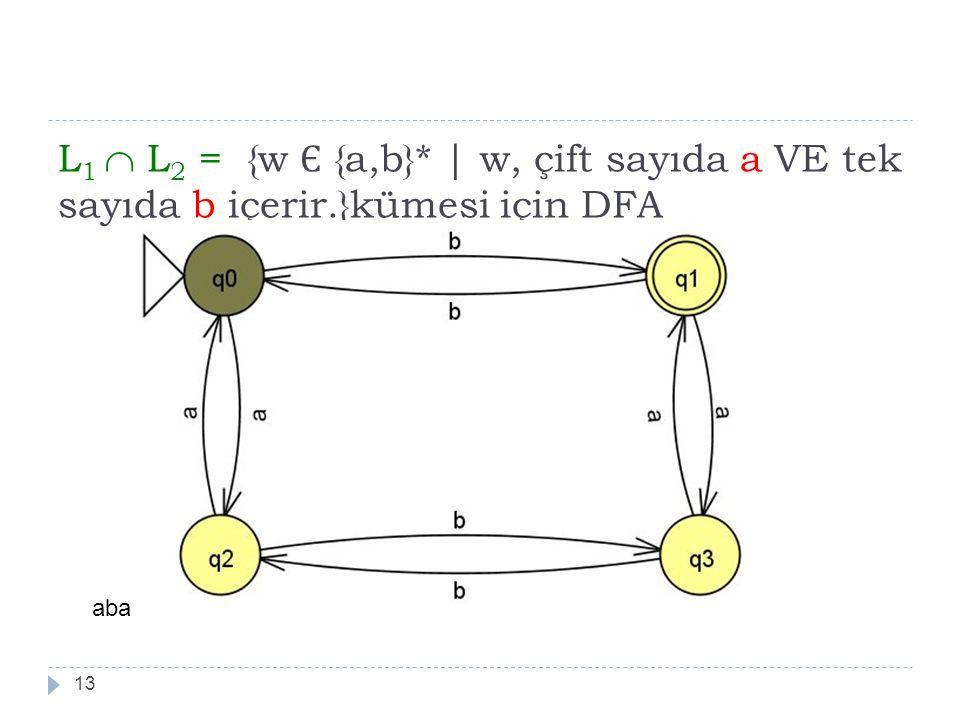 L 1  L 2 = {w Є {a,b}*   w, çift sayıda a VE tek sayıda b içerir.}kümesi için DFA 13 aba