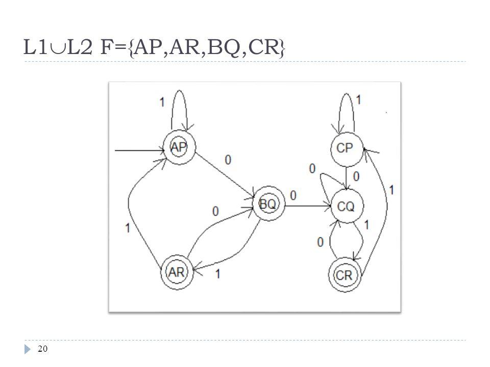 L1  L2 F={AP,AR,BQ,CR} 20