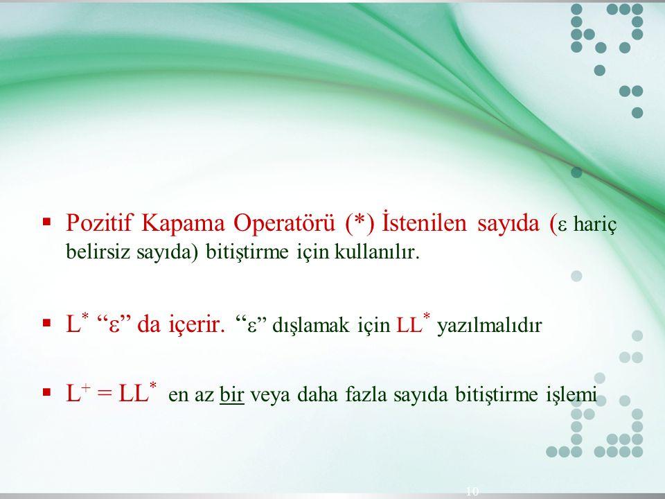 """ Pozitif Kapama Operatörü (*) İstenilen sayıda (  hariç belirsiz sayıda) bitiştirme için kullanılır.  L * """"  """" da içerir. """"  """" dışlamak için LL *"""