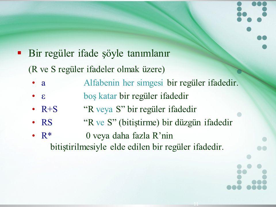  Bir regüler ifade şöyle tanımlanır (R ve S regüler ifadeler olmak üzere) aAlfabenin her simgesi bir regüler ifadedir.  boş katar bir regüler ifaded