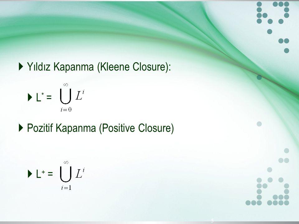  Yıldız Kapanma (Kleene Closure):  L * =  Pozitif Kapanma (Positive Closure)  L + = 5