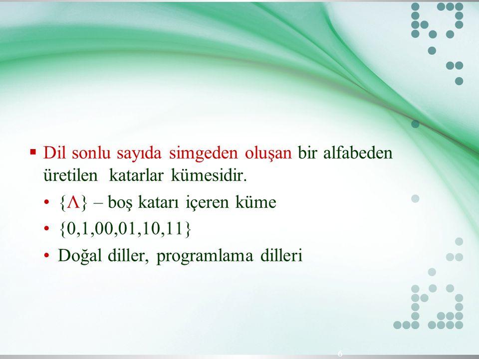  Dil sonlu sayıda simgeden oluşan bir alfabeden üretilen katarlar kümesidir. {Λ} – boş katarı içeren küme {0,1,00,01,10,11} Doğal diller, programlama