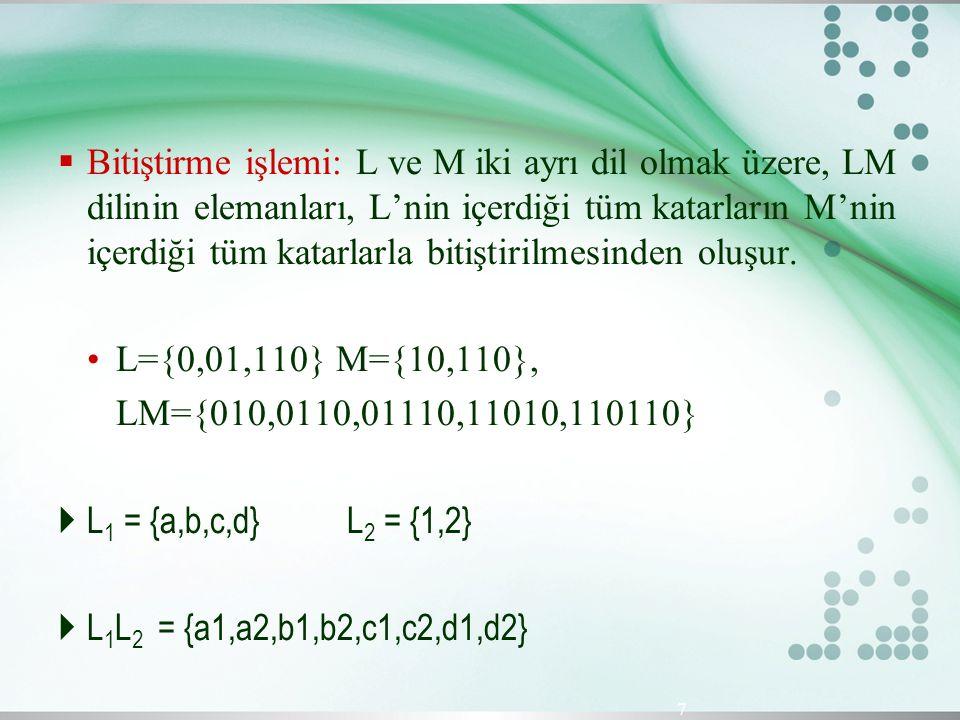  Bitiştirme işlemi: L ve M iki ayrı dil olmak üzere, LM dilinin elemanları, L'nin içerdiği tüm katarların M'nin içerdiği tüm katarlarla bitiştirilmes