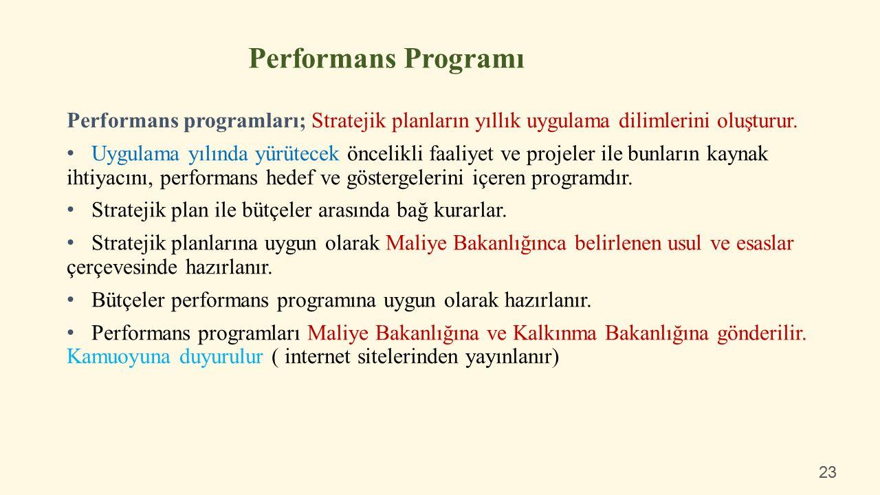 Performans programları; Stratejik planların yıllık uygulama dilimlerini oluşturur.
