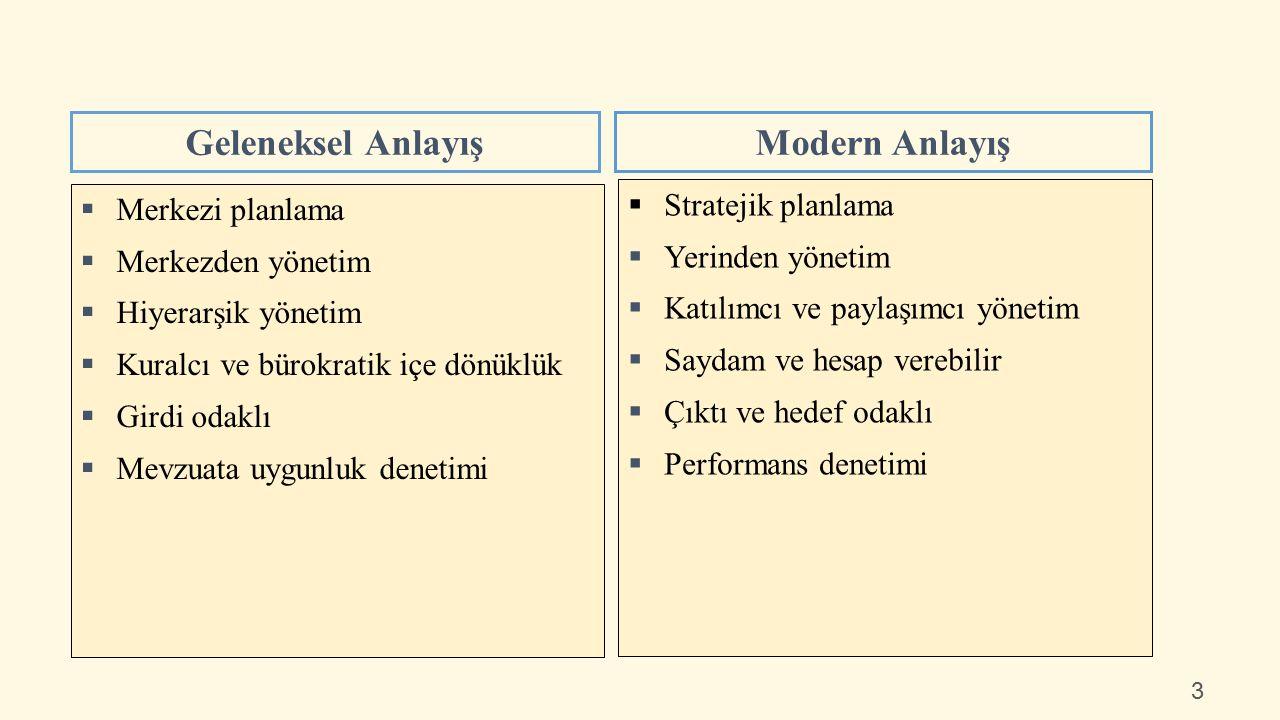  Merkezi planlama  Merkezden yönetim  Hiyerarşik yönetim  Kuralcı ve bürokratik içe dönüklük  Girdi odaklı  Mevzuata uygunluk denetimi Geleneksel AnlayışModern Anlayış  Stratejik planlama  Yerinden yönetim  Katılımcı ve paylaşımcı yönetim  Saydam ve hesap verebilir  Çıktı ve hedef odaklı  Performans denetimi 3