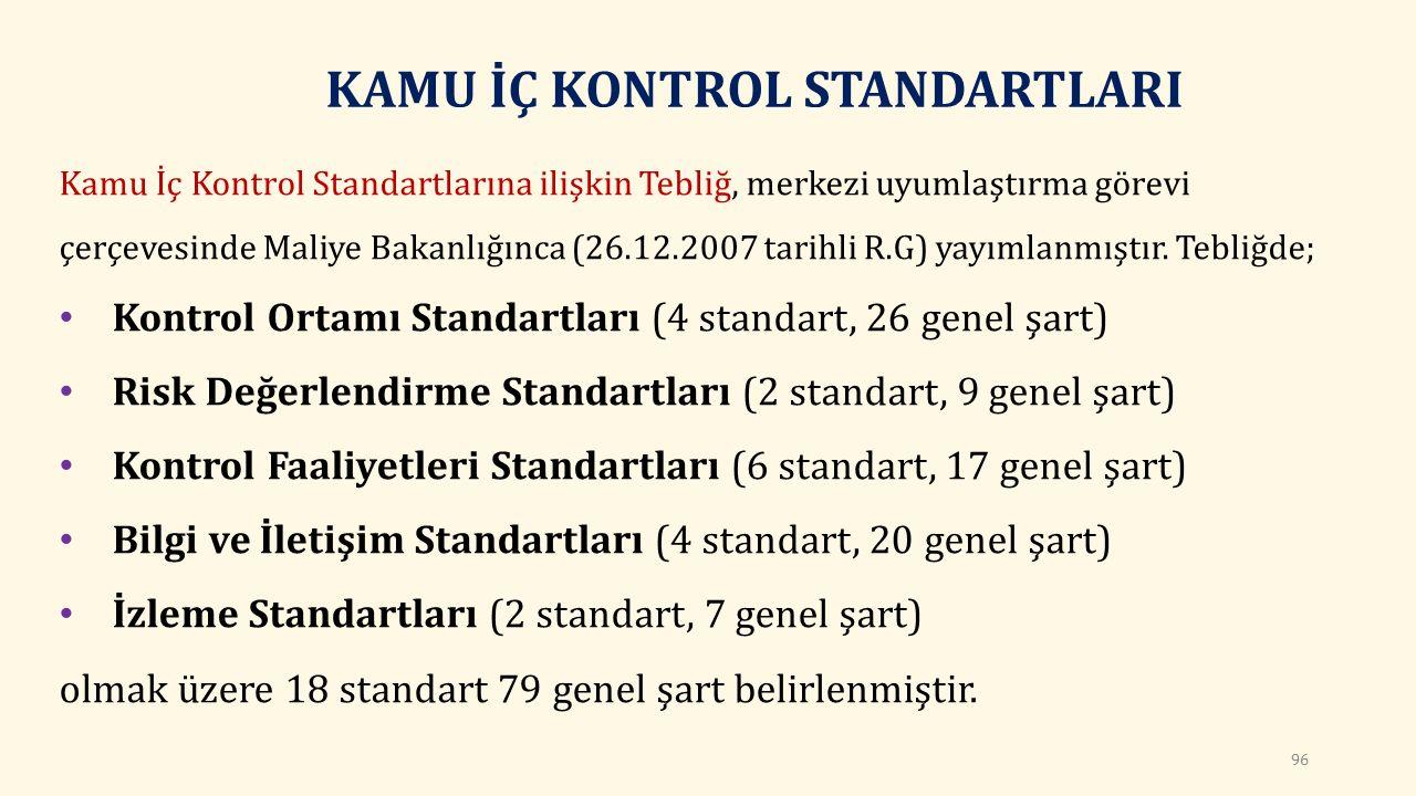 KAMU İÇ KONTROL STANDARTLARI Kamu İç Kontrol Standartlarına ilişkin Tebliğ, merkezi uyumlaştırma görevi çerçevesinde Maliye Bakanlığınca (26.12.2007 tarihli R.G) yayımlanmıştır.