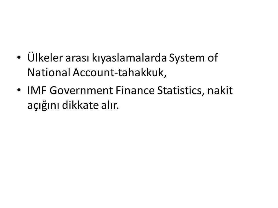 Ülkeler arası kıyaslamalarda System of National Account-tahakkuk, IMF Government Finance Statistics, nakit açığını dikkate alır.