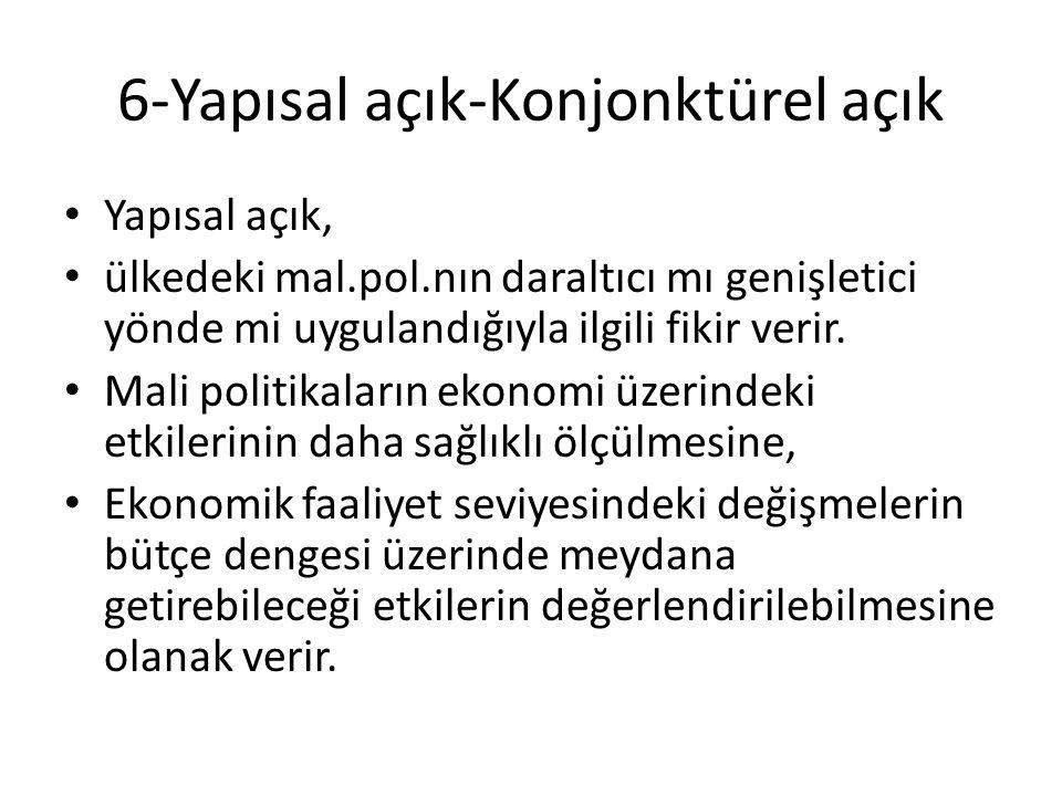 6-Yapısal açık-Konjonktürel açık Yapısal açık, ülkedeki mal.pol.nın daraltıcı mı genişletici yönde mi uygulandığıyla ilgili fikir verir.