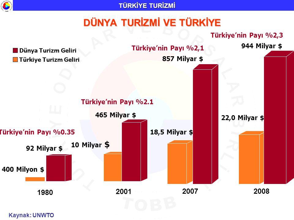 1980 400 Milyon $ Dünya Turizm Geliri Türkiye Turizm Geliri 2001 10 Milyar $ 92 Milyar $ Türkiye'nin Payı %0.35 465 Milyar $ Türkiye'nin Payı %2.1 18,