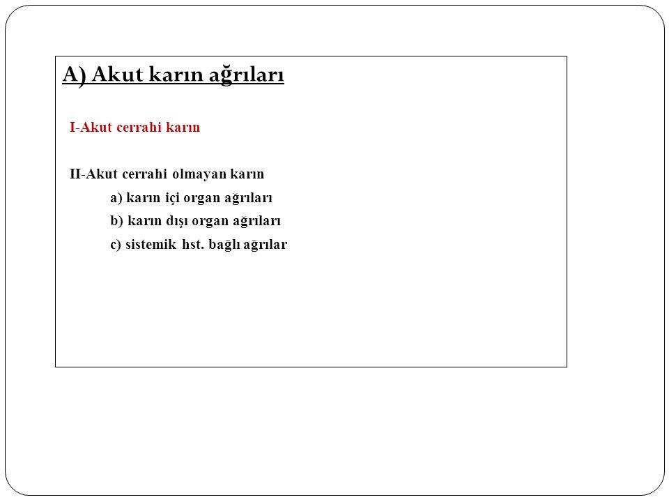A) Akut karın a ğ rıları I-Akut cerrahi karın II-Akut cerrahi olmayan karın a) karın içi organ ağrıları b) karın dışı organ ağrıları c) sistemik hst.