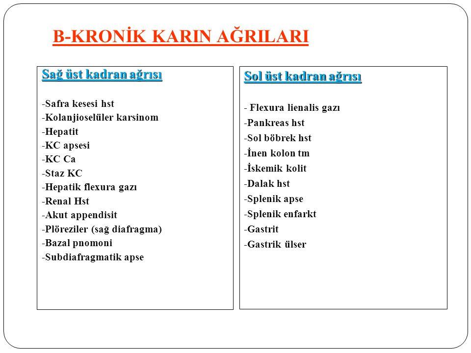 Sağ üst kadran ağrısı -Safra kesesi hst -Kolanjioselüler karsinom -Hepatit -KC apsesi -KC Ca -Staz KC -Hepatik flexura gazı -Renal Hst -Akut appendisi
