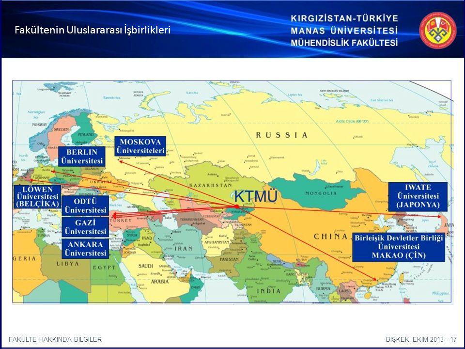 BIŞKEK, EKIM 2013 - 17FAKÜLTE HAKKINDA BILGILER Fakültenin Uluslararası İşbirlikleri