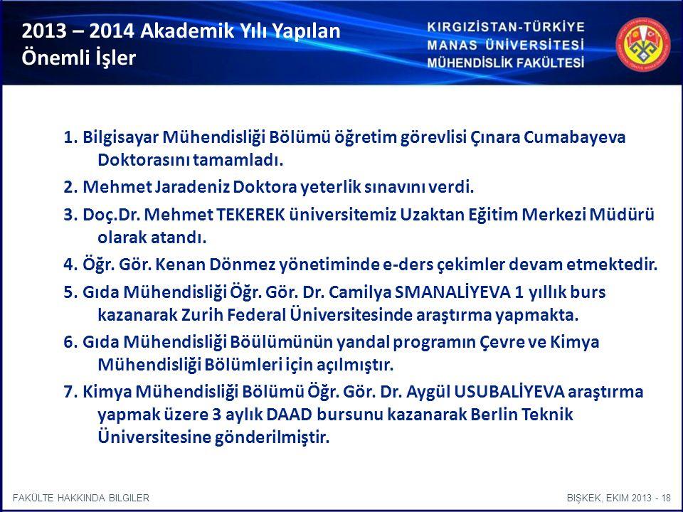 BIŞKEK, EKIM 2013 - 18FAKÜLTE HAKKINDA BILGILER 2013 – 2014 Akademik Yılı Yapılan Önemli İşler 1.