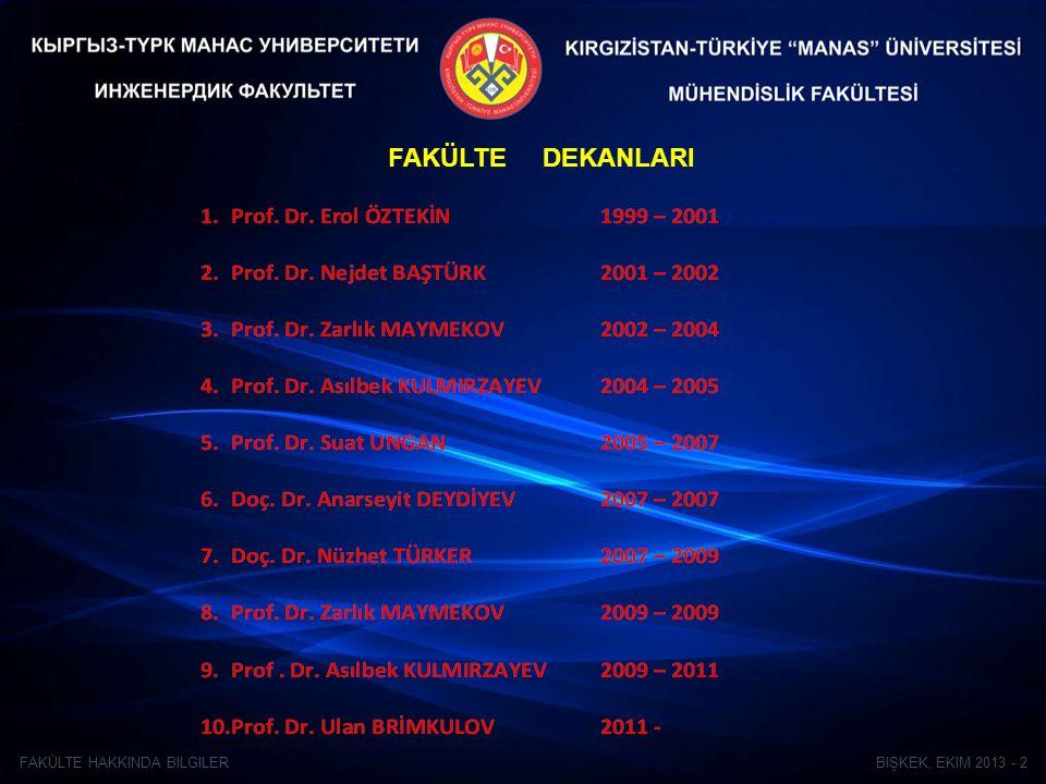 BIŞKEK, EKIM 2013 - 2FAKÜLTE HAKKINDA BILGILER FAKÜLTE DEKANLARI