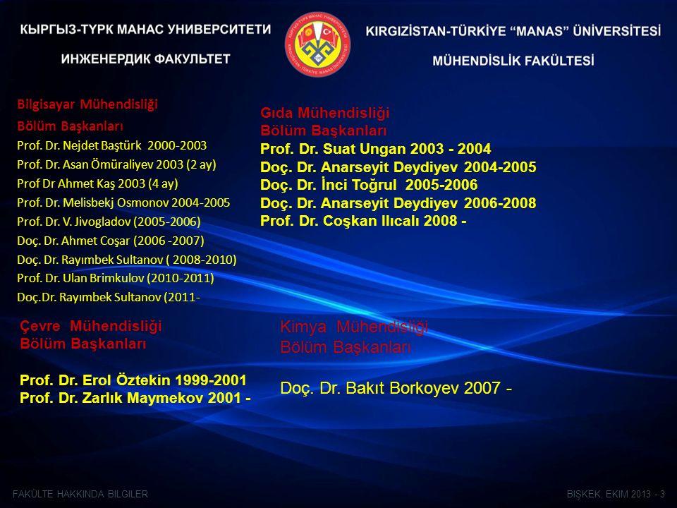 BIŞKEK, EKIM 2013 - 3FAKÜLTE HAKKINDA BILGILER Bilgisayar Mühendisliği Bölüm Başkanları Prof.