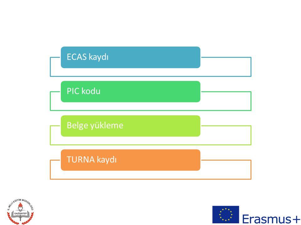 ECAS kaydıPIC koduBelge yüklemeTURNA kaydı
