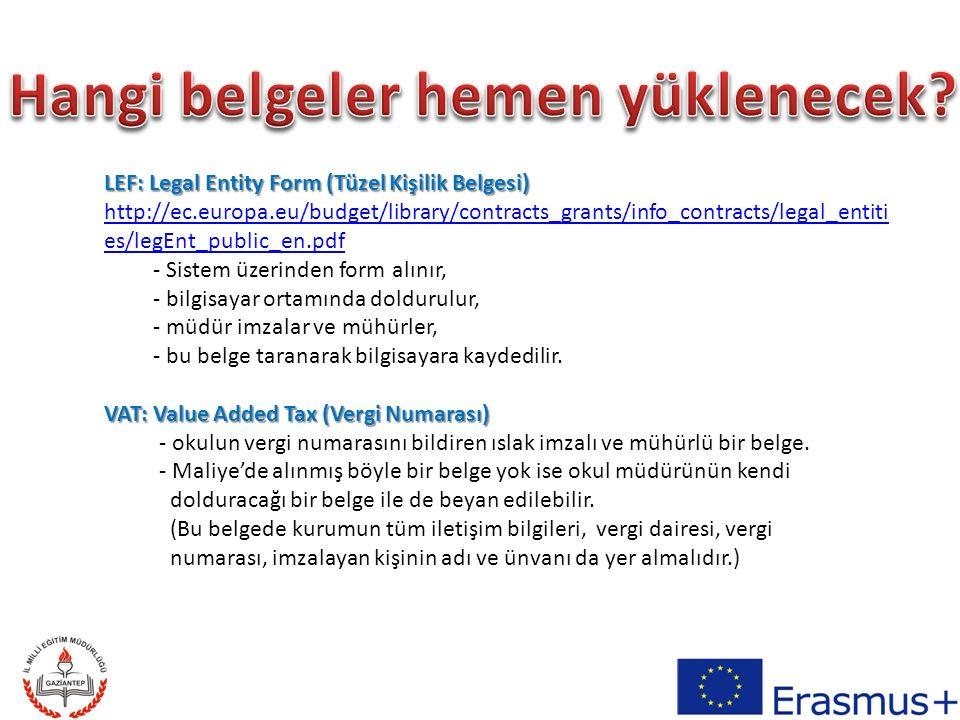 Financial Identification Form (Finansal Kimlik Belgesi) -Sistem üzerinden form alınır, http://ec.europa.eu/budget/library/contracts_grants/info_contracts/financial _id/fich_sign_ba_gb_en.pdf - bilgisayar ortamında doldurulur, - müdür imzalar ve mühürler, - ilgili banka imzalar ve mühürler, - bu belge taranarak bilgisayara kaydedilir.