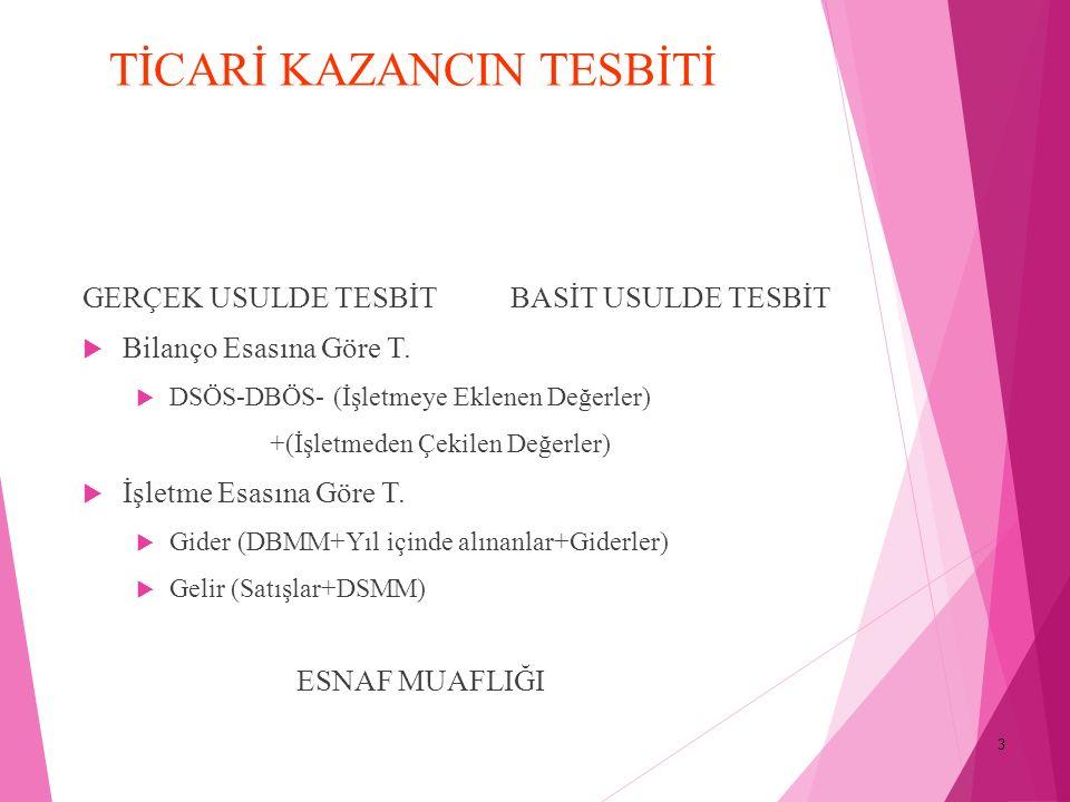 4 İŞLETME HESABI ESASINDA TİCARİ KAZANCIN TESBİTİ  2.
