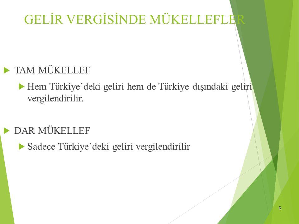 6 GELİR VERGİSİNDE MÜKELLEFLER  TAM MÜKELLEF  Hem Türkiye'deki geliri hem de Türkiye dışındaki geliri vergilendirilir.  DAR MÜKELLEF  Sadece Türki