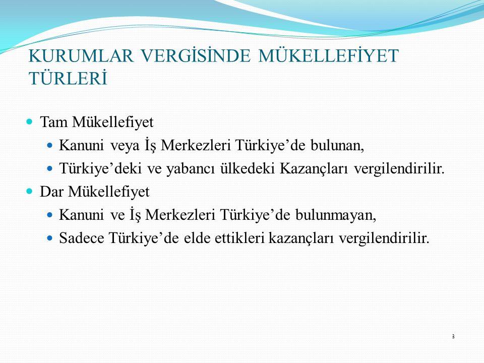3 Tam Mükellefiyet Kanuni veya İş Merkezleri Türkiye'de bulunan, Türkiye'deki ve yabancı ülkedeki Kazançları vergilendirilir. Dar Mükellefiyet Kanuni