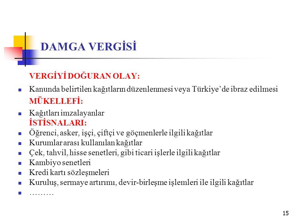 15 DAMGA VERGİSİ VERGİYİ DOĞURAN OLAY: Kanunda belirtilen kağıtların düzenlenmesi veya Türkiye'de ibraz edilmesi MÜKELLEFİ: Kağıtları imzalayanlar İST