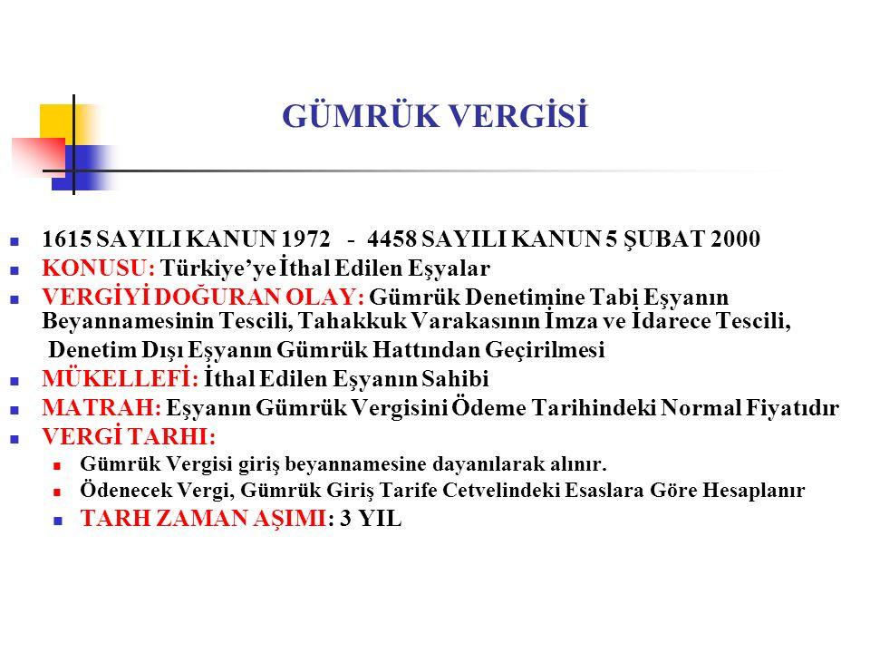 GÜMRÜK VERGİSİ 1615 SAYILI KANUN 1972 - 4458 SAYILI KANUN 5 ŞUBAT 2000 KONUSU: Türkiye'ye İthal Edilen Eşyalar VERGİYİ DOĞURAN OLAY: Gümrük Denetimine