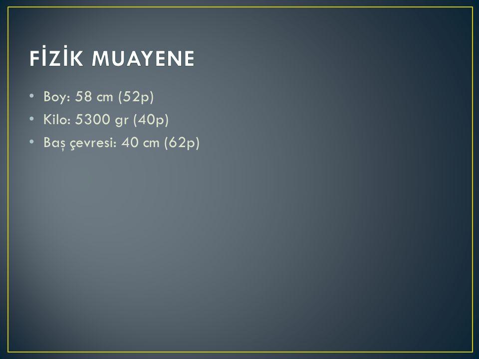 Boy: 58 cm (52p) Kilo: 5300 gr (40p) Baş çevresi: 40 cm (62p)