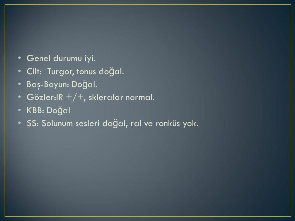 Genel durumu iyi. Cilt: Turgor, tonus do ğ al. Baş-Boyun: Do ğ al. Gözler:IR +/+, skleralar normal. KBB: Do ğ al SS: Solunum sesleri do ğ al, ral ve r
