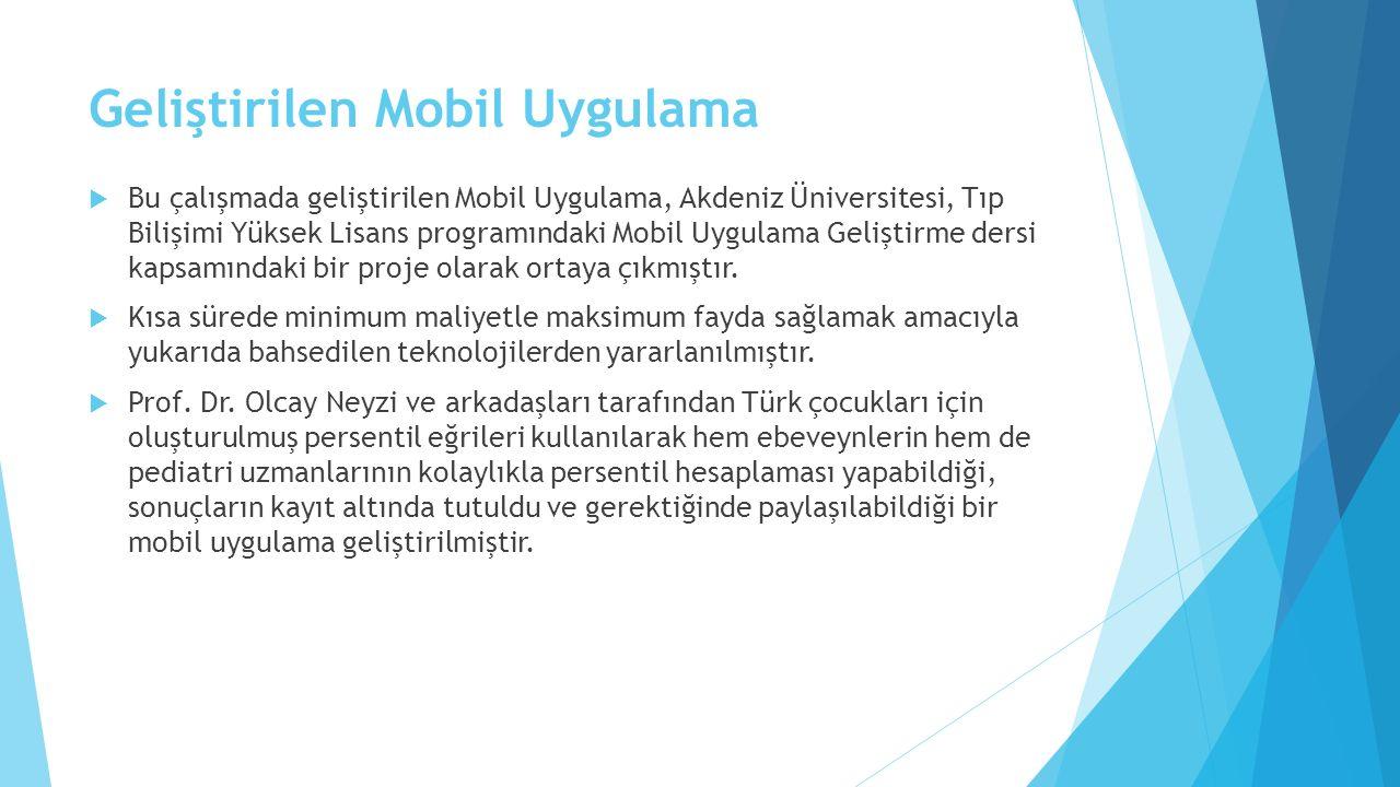 Geliştirilen Mobil Uygulama  Bu çalışmada geliştirilen Mobil Uygulama, Akdeniz Üniversitesi, Tıp Bilişimi Yüksek Lisans programındaki Mobil Uygulama Geliştirme dersi kapsamındaki bir proje olarak ortaya çıkmıştır.
