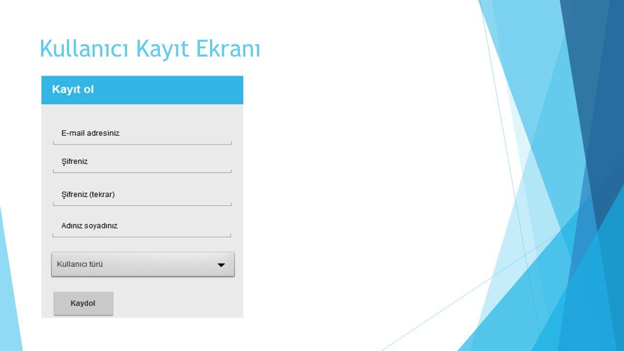 Kullanıcı Kayıt Ekranı