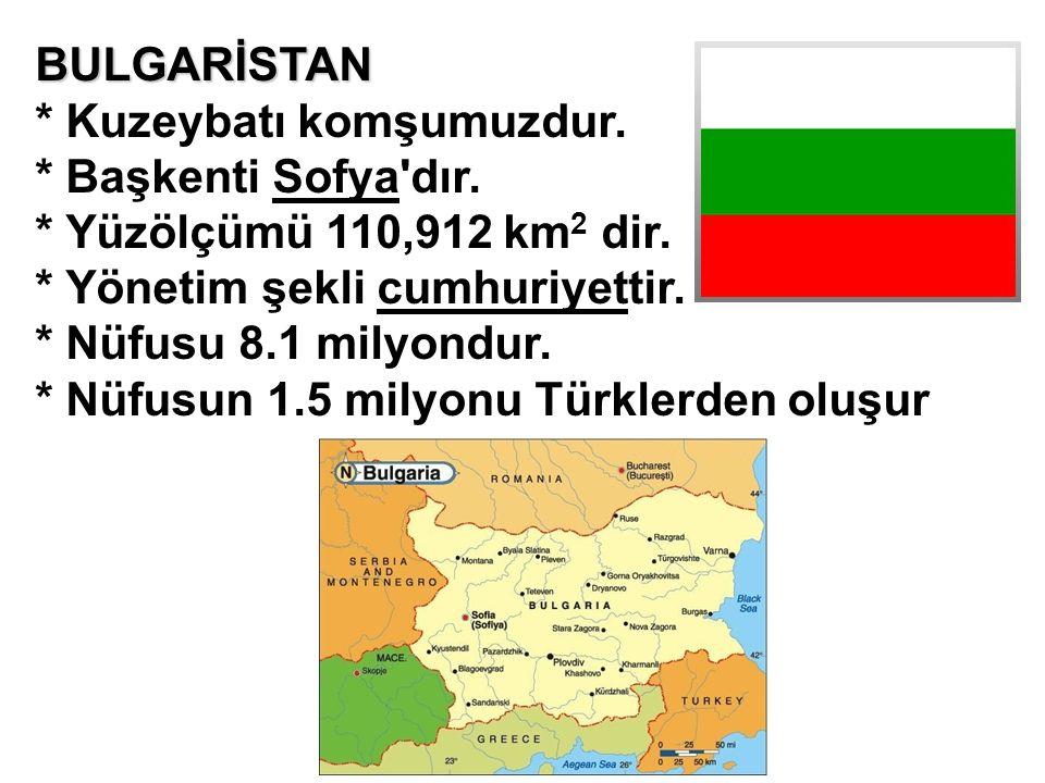 BULGARİSTAN * Kuzeybatı komşumuzdur. * Başkenti Sofya'dır. * Yüzölçümü 110,912 km 2 dir. * Yönetim şekli cumhuriyettir. * Nüfusu 8.1 milyondur. * Nüfu