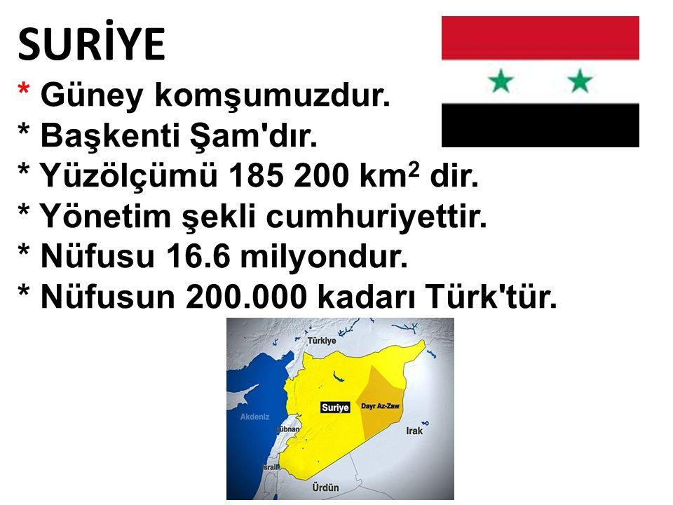 SURİYE * Güney komşumuzdur. * Başkenti Şam'dır. * Yüzölçümü 185 200 km 2 dir. * Yönetim şekli cumhuriyettir. * Nüfusu 16.6 milyondur. * Nüfusun 200.00