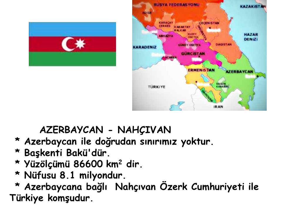 * Azerbaycan ile doğrudan sınırımız yoktur. * Başkenti Bakü'dür. * Yüzölçümü 86600 km 2 dir. * Nüfusu 8.1 milyondur. * Azerbaycana bağlı Nahçıvan Öze