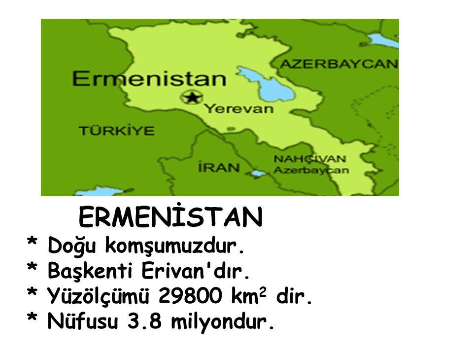ERMENİSTAN * Doğu komşumuzdur. * Başkenti Erivan'dır. * Yüzölçümü 29800 km 2 dir. * Nüfusu 3.8 milyondur.