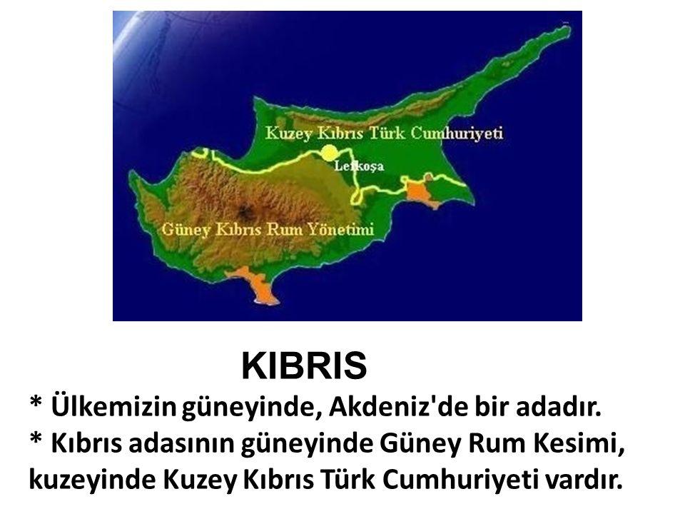 KIBRIS * Ülkemizin güneyinde, Akdeniz'de bir adadır. * Kıbrıs adasının güneyinde Güney Rum Kesimi, kuzeyinde Kuzey Kıbrıs Türk Cumhuriyeti vardır.
