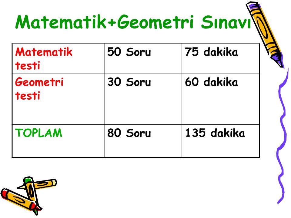 Matematik+Geometri Sınavı Matematik testi 50 Soru75 dakika Geometri testi 30 Soru60 dakika TOPLAM80 Soru135 dakika