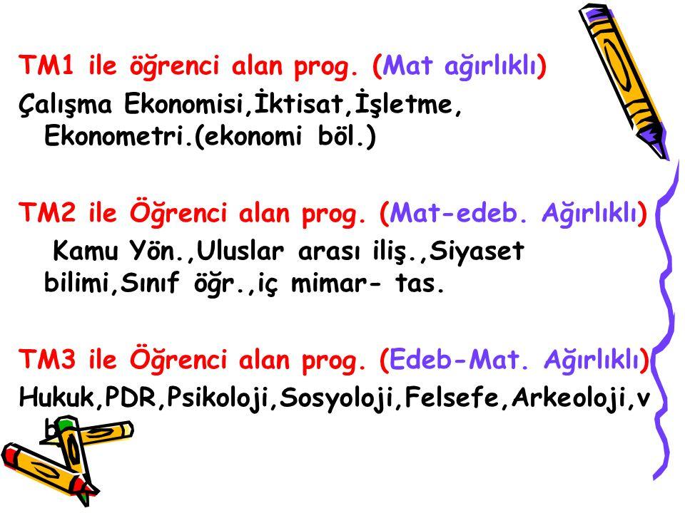 TM1 ile öğrenci alan prog. (Mat ağırlıklı) Çalışma Ekonomisi,İktisat,İşletme, Ekonometri.(ekonomi böl.) TM2 ile Öğrenci alan prog. (Mat-edeb. Ağırlıkl