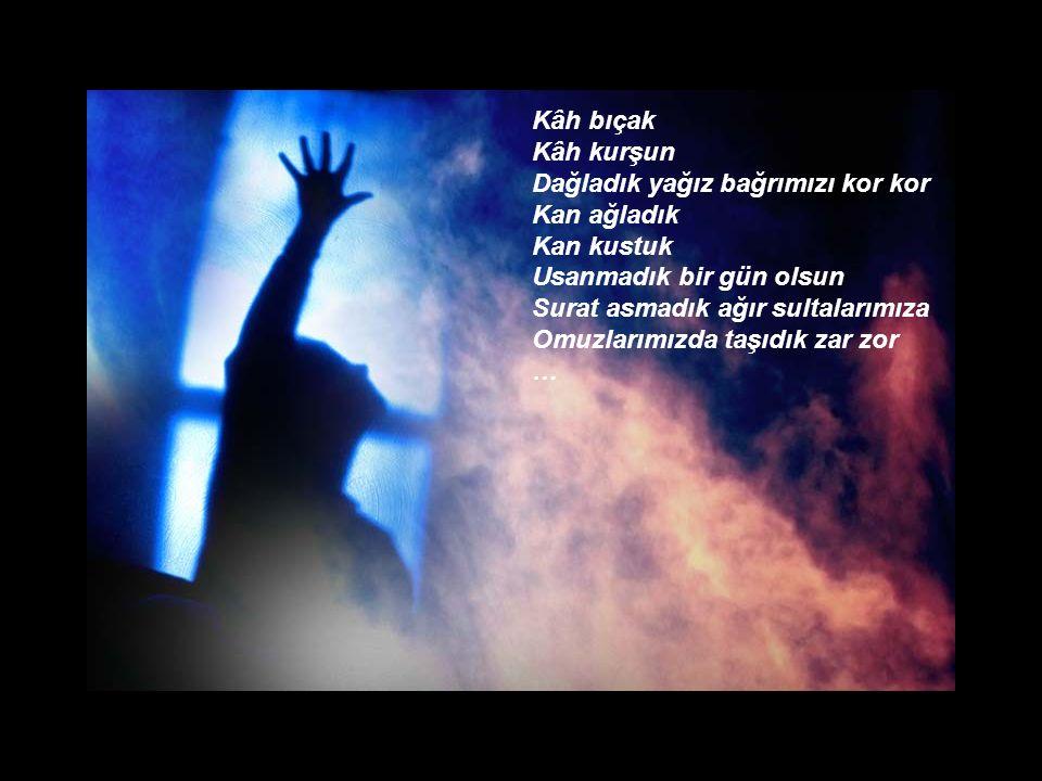 Biz öfkelerimizi yumruk yaptık Suratına çarptık alçakların bir bir Türkü yaktık Ağıtlar yaktık Korkmadık yemin olsun Toz kondurmadık sevdalarımıza Yüreğimizde sakladık şiir şiir …