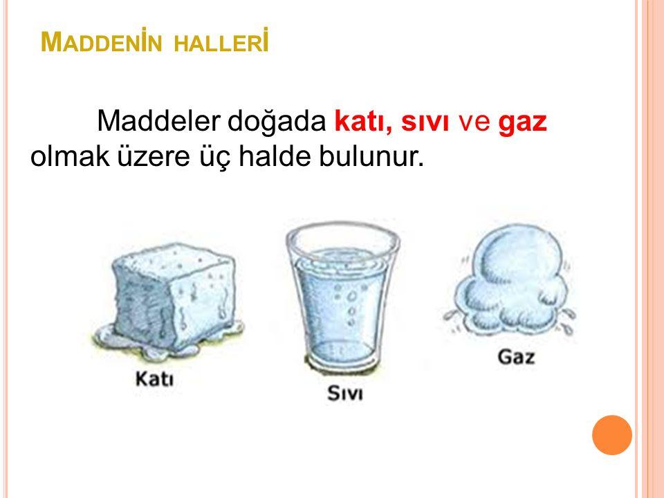 M ADDEN İ N HALLER İ Maddeler doğada katı, sıvı ve gaz olmak üzere üç halde bulunur.