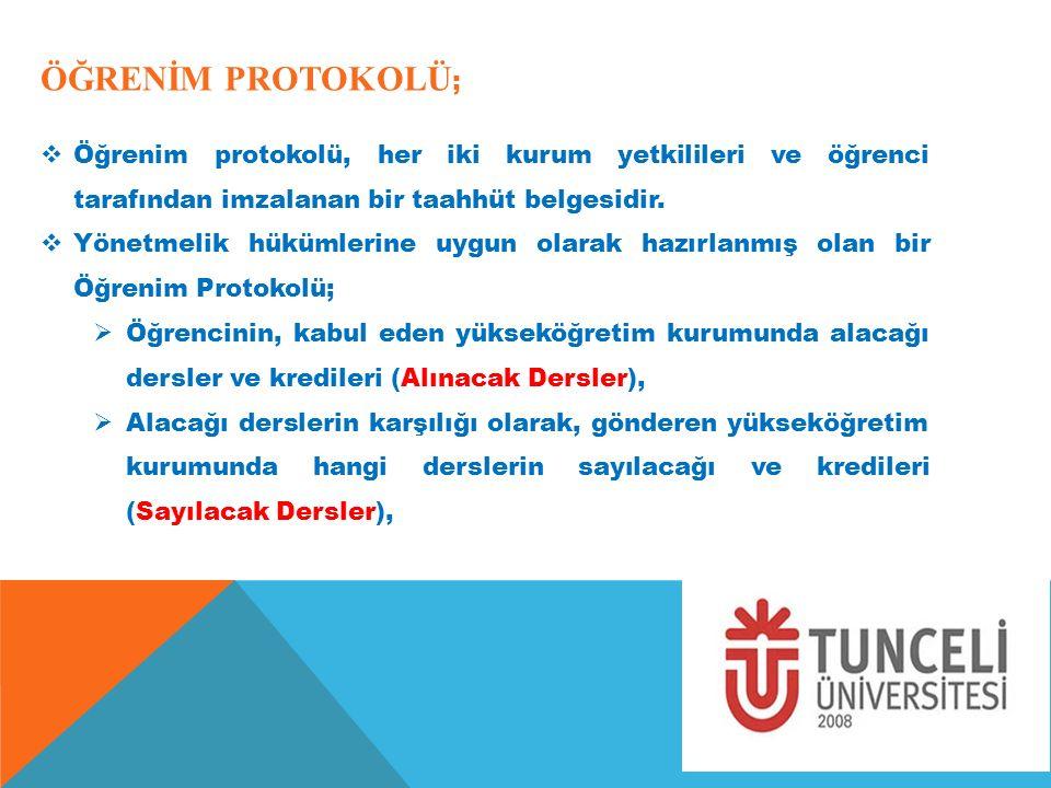 ÖĞRENİM PROTOKOLÜ ;  Öğrenim protokolü, her iki kurum yetkilileri ve öğrenci tarafından imzalanan bir taahhüt belgesidir.