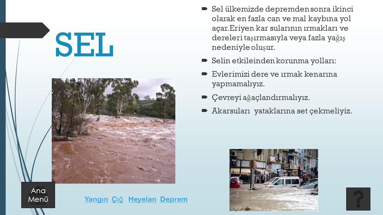SEL  Sel ülkemizde depremden sonra ikinci olarak en fazla can ve mal kaybına yol açar.Eriyen kar sularının ırmakları ve dereleri ta ş ırmasıyla veya