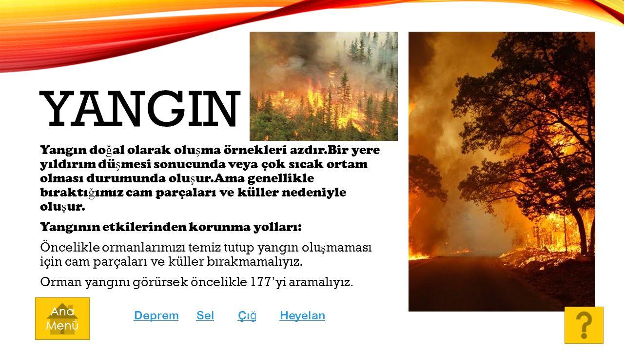YANGIN Yangın do ğ al olarak olu ş ma örnekleri azdır.Bir yere yıldırım dü ş mesi sonucunda veya çok sıcak ortam olması durumunda olu ş ur.Ama genelli