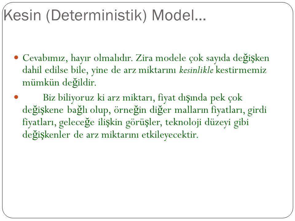 Kesin (Deterministik) Model Arz teorisne göre, arz, fiyatın bir fonksiyonudur. Böyle durumda ilk soru ş u olmalıdır: Bu iki de ğ i ş ken arasında kesi