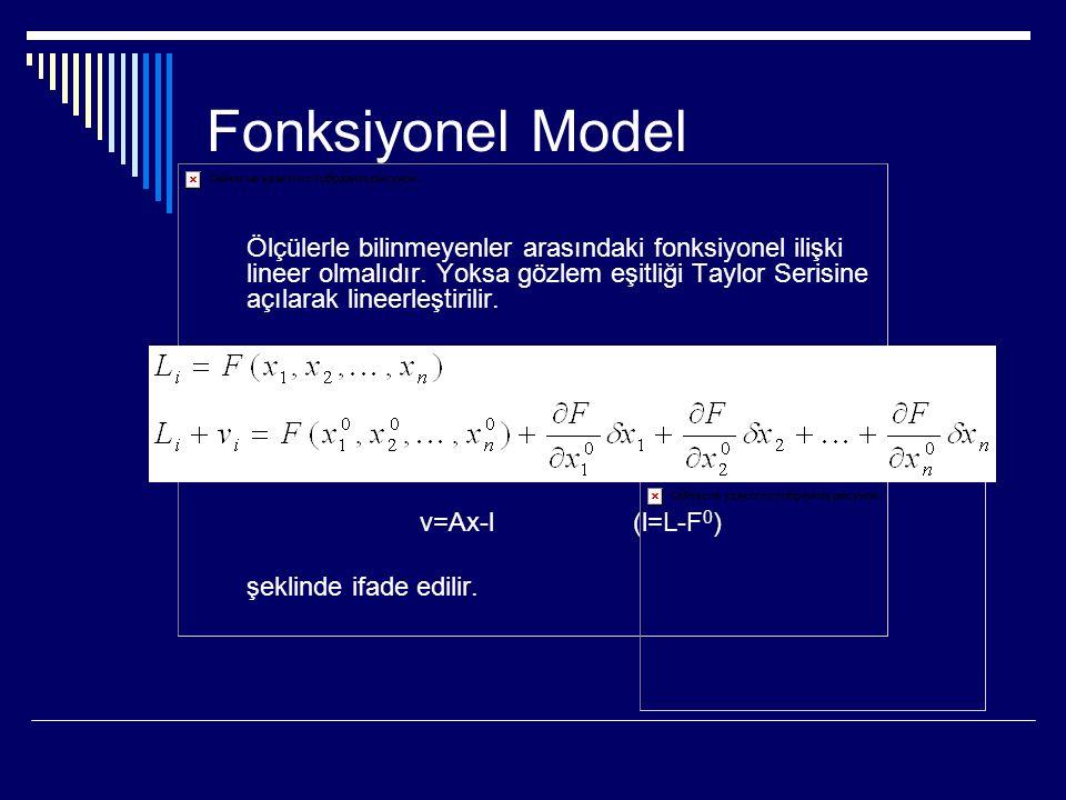 Fonksiyonel Model Ölçülerle bilinmeyenler arasındaki fonksiyonel ilişki lineer olmalıdır.