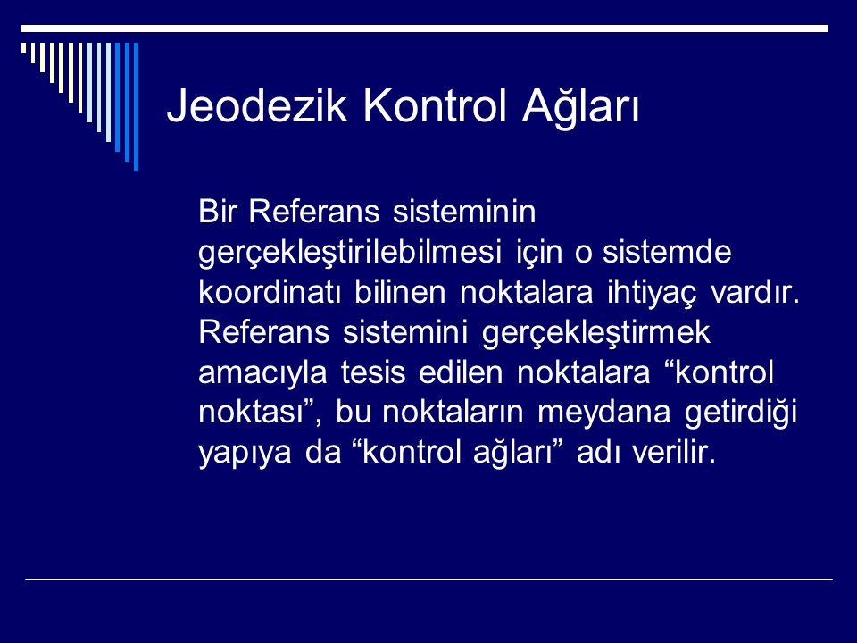 Jeodezik Kontrol Ağları Bir Referans sisteminin gerçekleştirilebilmesi için o sistemde koordinatı bilinen noktalara ihtiyaç vardır.